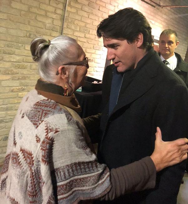 Elder Mae Louise Meets Prime Minister Justin Trudeau